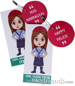 Italy International Friendship Swap Kit: Learn Italian. Superhero Harmony wears a Girl Guide uniform from Italy for these World Thinking Day* crafts. Learn 30 different Italian words while you make these crafts for swapping. No scissors or glue needed. Kit makes 30. You'll find more fun ideas on our page Italy | Ideas for Thinking Day* including patches, crafts, passports and more. via @gsleader411