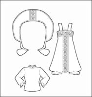World Thinking Day Traditional Russia Clothing Outline