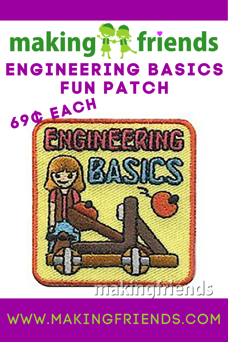 Girls will have fun learning engineering basics by building and testing catapults. After they've explored the basics give your girls this patchfrom MakingFriends®.com to remember the fun they had with engineering. #makingfriends #engineering #funpatch #gspatch #girlscouts via @gsleader411