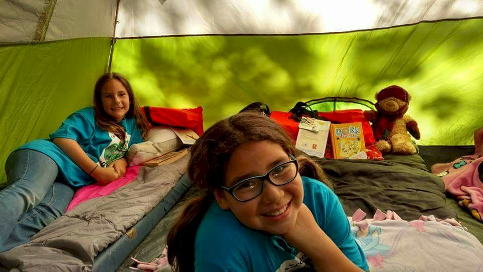 Junior Girl Scouts Tent Camping