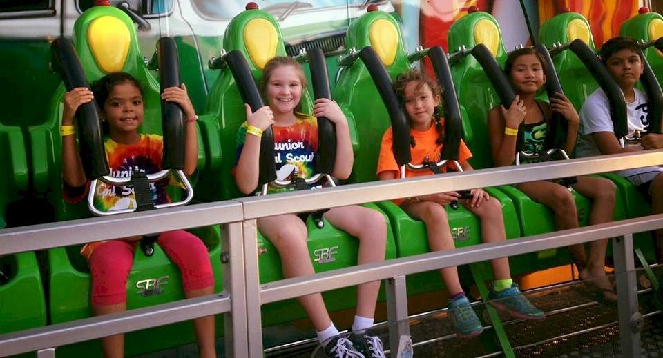 Junior Girl Scouts at Amusement Park