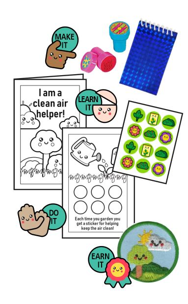 Clean Air Helper Badge in a Bag®. Preschoolers will earn a special patch after they complete the three included activities and learn about how plants help keep the air clean. Part of the Environmental Patch program from Youth Squad and MakingFriends®.com. via @gsleader411