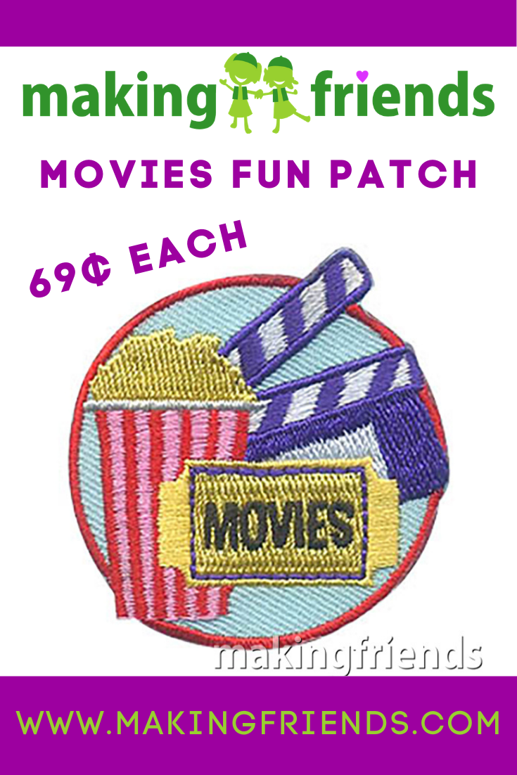 Rent a movie, go to the theater, or even watch a movie together virtually! These patches are only $.69 each with free shipping available! #makingfriends #movies #moviepatch #gspatches #funpatch #moviefunpatch #theater #popcorn #virtualmovie via @gsleader411