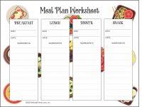 healthy meal plan worksheet download PDF