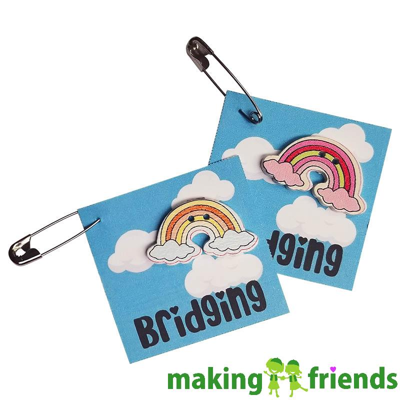 Bridging Rainbow Friendship Swap Kit. Easy as can be! We print your custom information -- up to 3 lines. Your girls will love the custom Bridging Rainbow Friendship Swap Kit created just for them! Exclusively available at MakingFriends®.com. You'll find ideas for ceremonies, decorations, banners and patches on our page Scout Ceremonies and Award Celebrations. Kit makes 24. #makingfriends #mf #girlscoutswaps #swaps #tradition #crafts #diy #swapkits #girlscouts #scouts via @gsleader411