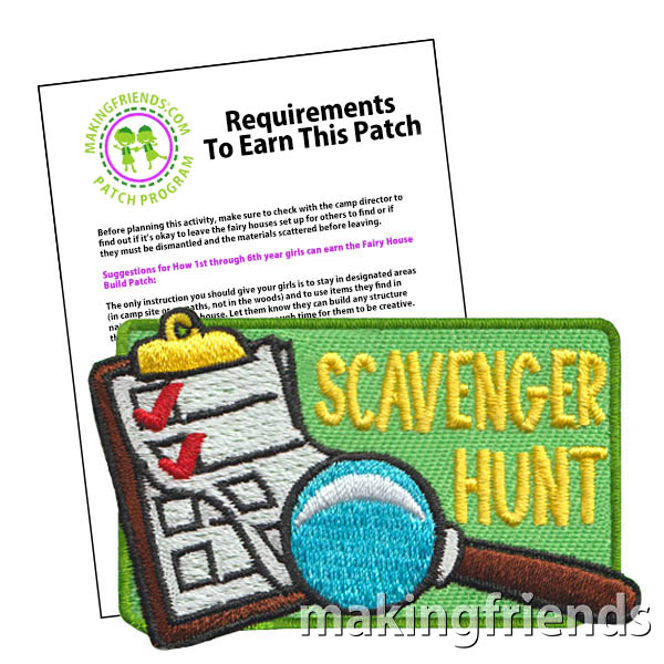 Scavenger Hunt Patch Program® from MakingFriends®.com. Scavenger hunts are tons of fun! See our suggested requirements and link to free printable color scavenger hunt lists perfect for any age. When the fun has ended, reward your scouts with the Scavenger Hunt patch from MakingFriends®.com. #makingfriends #scoutingfromhome #scoutpatches #girlscouts #scouts #scavengerhunt via @gsleader411