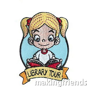 Library Tour Patch. Take a trip to the library and take a tour. Remember a fun trip with this patch from MakingFriends®.com! via @gsleader411
