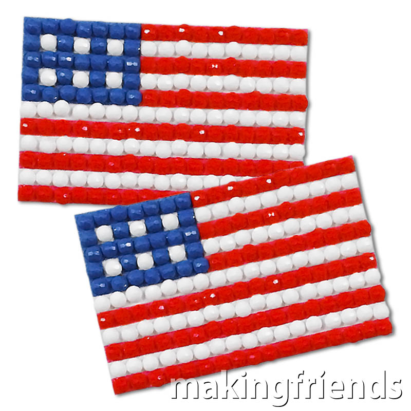 Show your Patriotism! Make these striking pins to wear, give, or swap. So fun to make! #makingfriends #flag #americanflag #swapskit #flagswapskit #swaps #friendshipswaps via @gsleader411