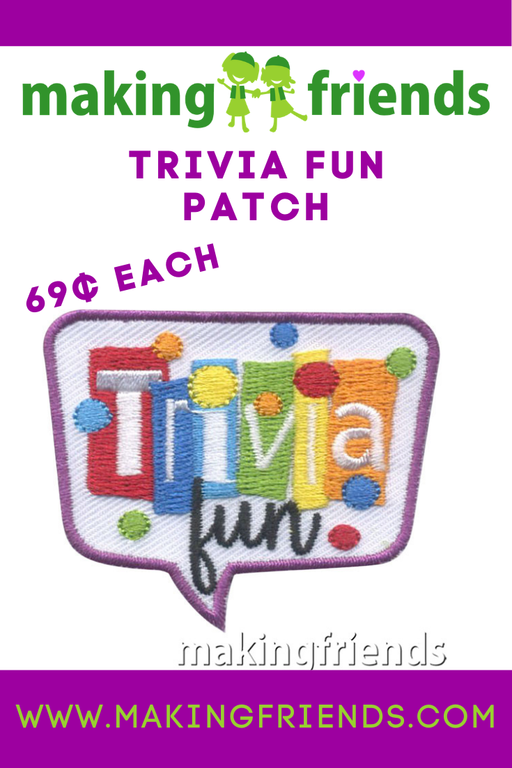 Learning is more fun with trivia! Try Kahoot! and give out our trivia fun patch! Only $.69 each with free shipping available! #makingfriends #trivia #funpatch #girlscout #gsfunpatch #games #triviapatch via @gsleader411