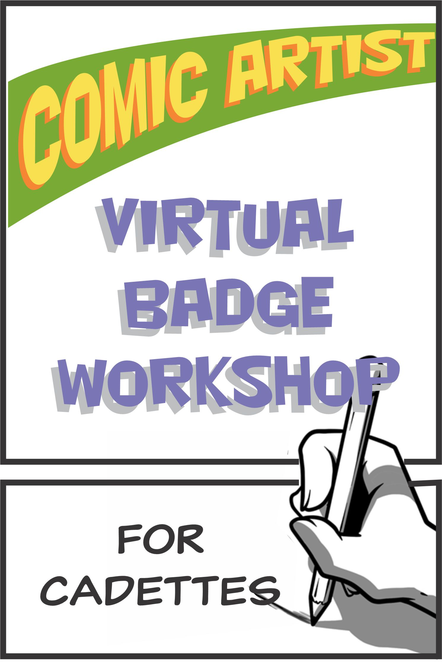 Join us for our Virtual Comic Artist Workshop! All girls that are interested in comic art ages 11 and up welcome! Professionally designed downloads!! #makingfriends #comicartist #comicartistbadge #virtualworkshop #girlscoutbadge #gsbadges #onlineclass via @gsleader411
