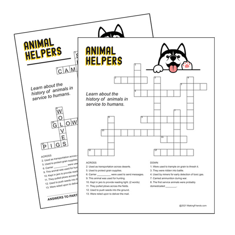 Girl Scout Animal Helper History Crossword