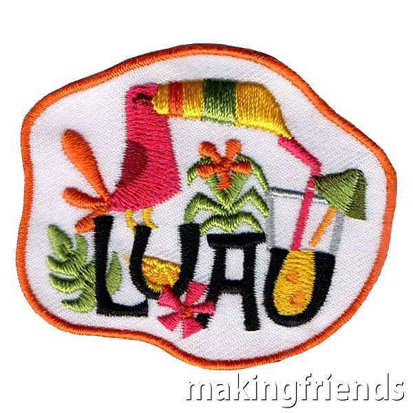 Coming soon! Luau Fun Patch. Only $.69 each with free shipping available! #makingfriends #luau #luaupatch #girlscouts #gsfunpatch #toucans #funpatch #party #girlscoutpatch #comingsoon via @gsleader411