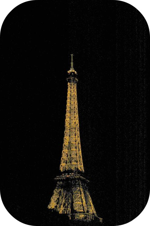 rounded eiffel at night
