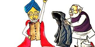 modi mammohan cartoon raincoat poem making india