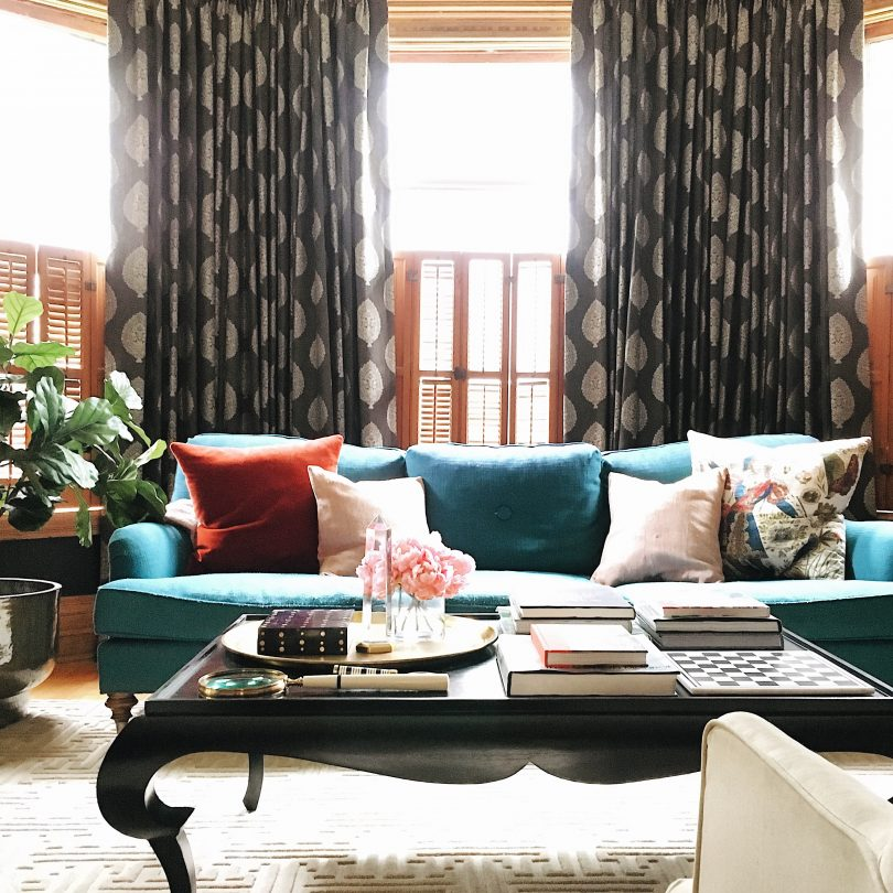 Noir Rena Coffee Table, Teal Sofa | Making it Lovely