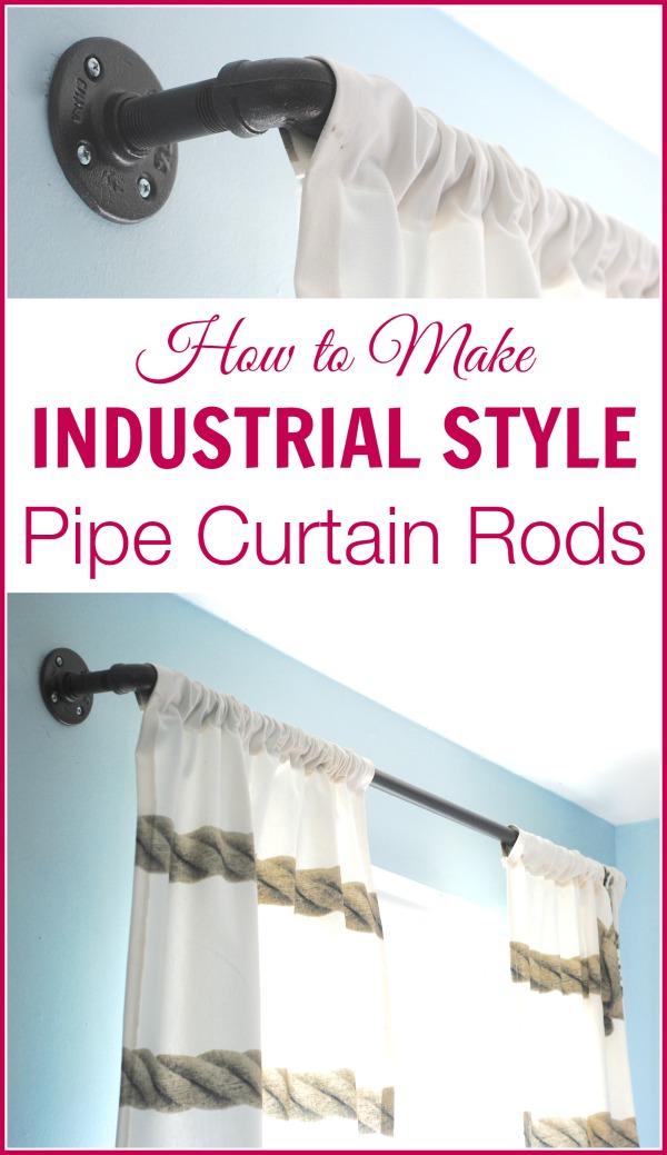 diy industrial pipe curtain rods boys