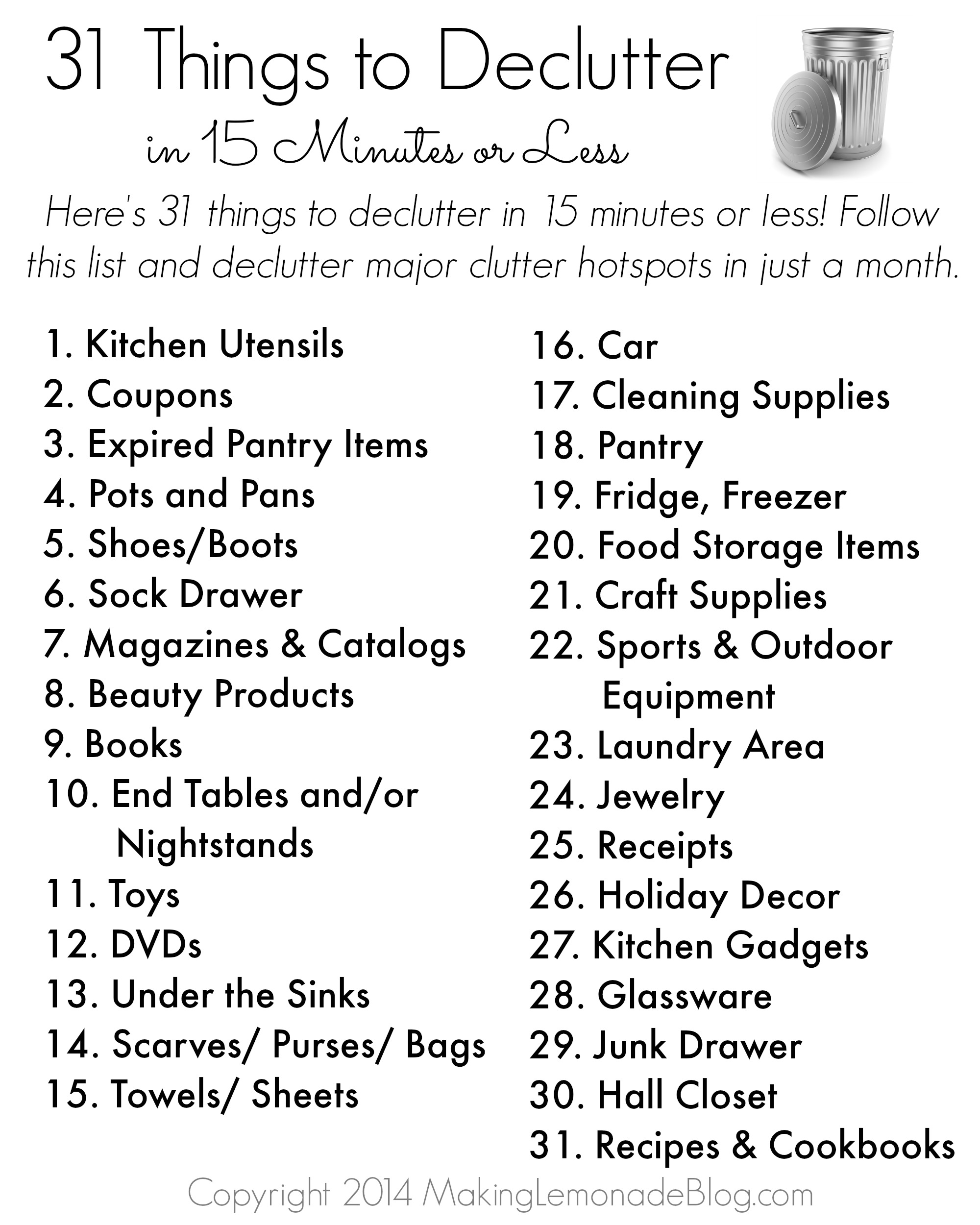 Free Printable 31 Things To Decluttter In 15 Minutes Or