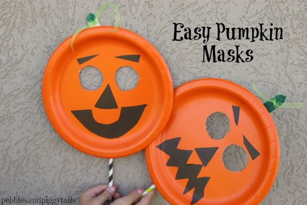 Easy Paper Plate Pumpkin Mask Craft Making Life Blissful