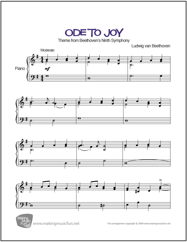 All Music Chords beethoven s 5th sheet music : Beethoven's Ode to Joy │ Easy Sheet Music (PDF/ Digital Print ...