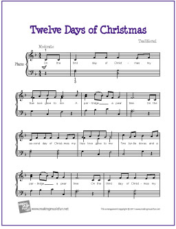 Twelve Days Of Christmas Free Easy Piano Sheet Music