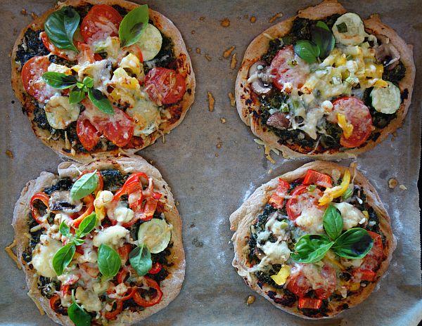 Dinkel-Pizzetti mit Grünkohlschmand und buntem Gemüse