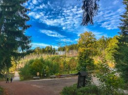 Wegekreuzung an der Plessenburg. Rechts geht der Kammweg hinauf - unbedingt empfehlenswert!
