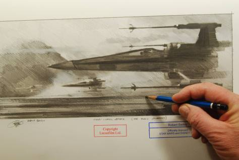 3 X-wing Fighter Sketches from official Disney artist based on Star Wars: The Force Awakens!