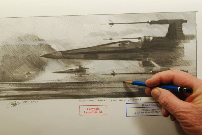 X Wings official 3 - 3 X-wing Fighter Sketches from official Disney artist based on Star Wars: The Force Awakens!