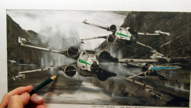 Photo of 3 X-wing Fighter Sketches from official Disney artist based on Star Wars: The Force Awakens!