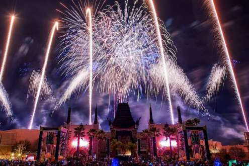 "Guests visiting Disney's Hollywood Studios can experience ""Symphony in the Stars: A Galactic Spectacular,"" a dazzling Star Wars-themed fireworks show set to memorable Star Wars music from throughout the saga. The fireworks spectacular is featured nightly. Disney's Hollywood Studios is one of four theme parks at Walt Disney World Resort. (Chloe Rice, photographer)"