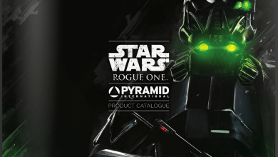 Photo of Pyramid International's Rogue One: A Star Wars Story product catalog shows fantastic art and products!