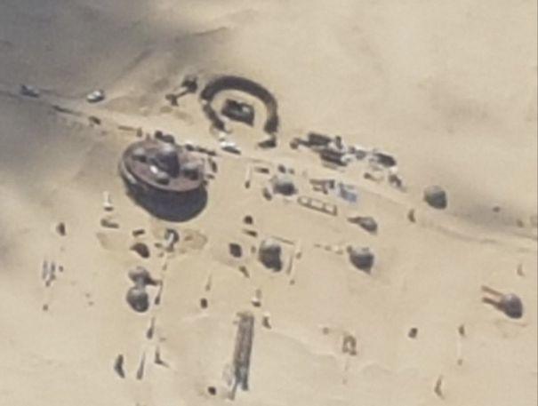 Photo aérienne d'un décor de la Star Wars Story sur Han Solo