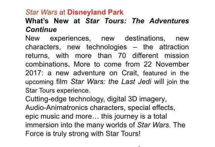 Star Tours2 - Star Tours : The Adventures Continue to introduce Star Wars: The Last Jedi's Crait on November 17th, 2017?