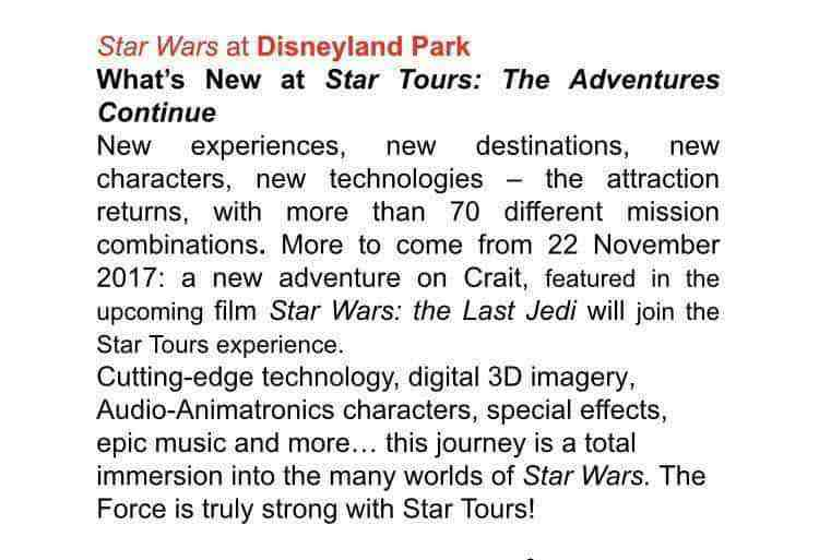Star Tours : The Adventures Continue to introduce Star Wars: The Last Jedi's Crait on November 17th, 2017?