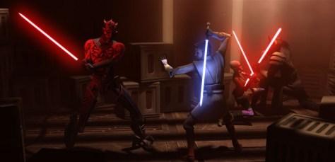 Maul vs. Kenobi and Ventress vs. Opress