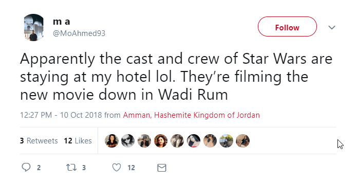 2018 10 26 11 40 25 m a on Twitter Apparently the cast and crew of Star Wars are staying at my hot