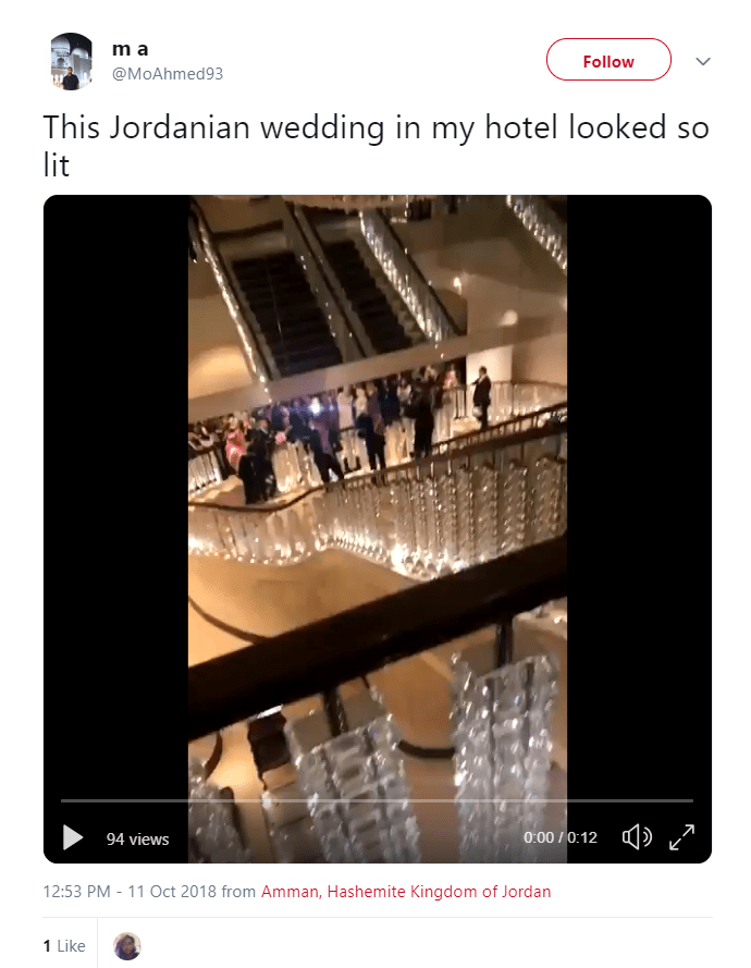 2018 10 26 11 41 58 m a on Twitter This Jordanian wedding in my hotel looked so lit…