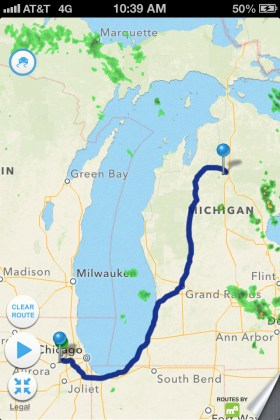 our route - home to the cottage, 6 hours