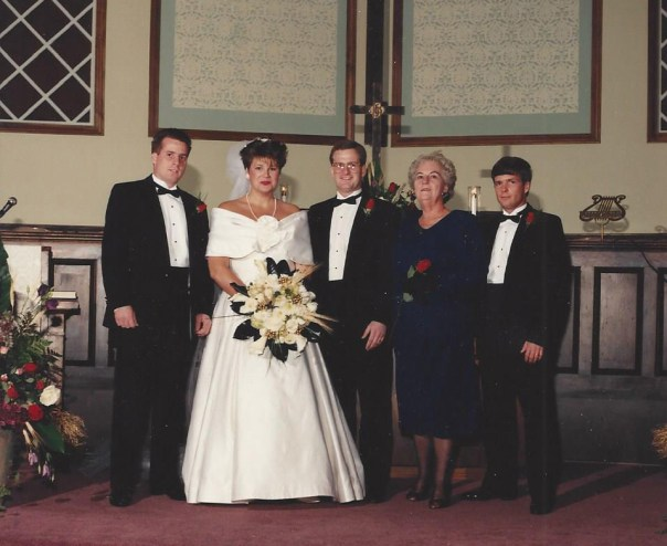 Our wedding day - Warren, B, me, my mom and David