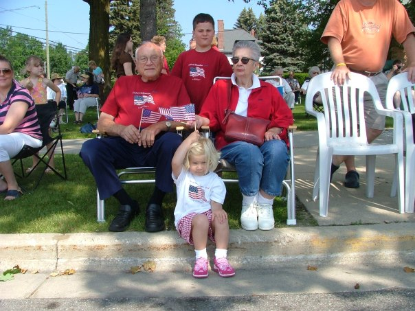 the Fourth of July parade with grandma, grandpa, and the kids - W and O. 2006