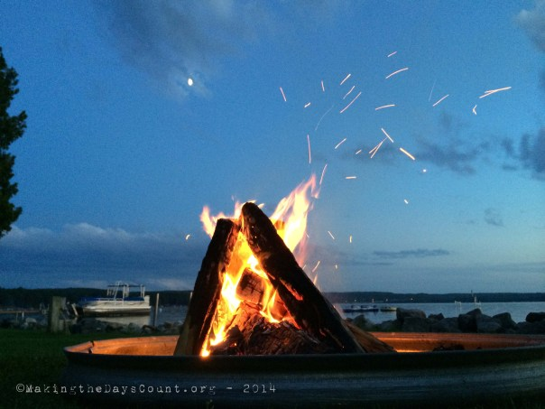 the campfire, the lake, the moon, and 'sparks fly'