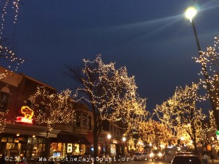 Yellow - Christmas lights in downtown Naperville at dusk - 12/21/14