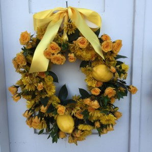 one of the wreaths on the church door, grandma loved lemons and yellow roses