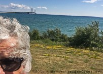 """looking south and the """"Might Mac"""" bridging the Straits of Mackinac"""