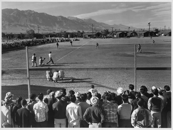 baseball game in Manzanar War Relocation Camp - 1943, photograph courtesy of Library of Congress