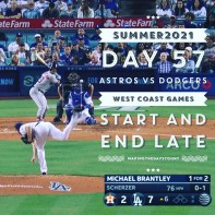 Scherzer pitching to Brantley - Brantley wins this one with a single to right center… but baseball is a TEAM GAME and the Dodgers lead 7-2 in the top of the 6th