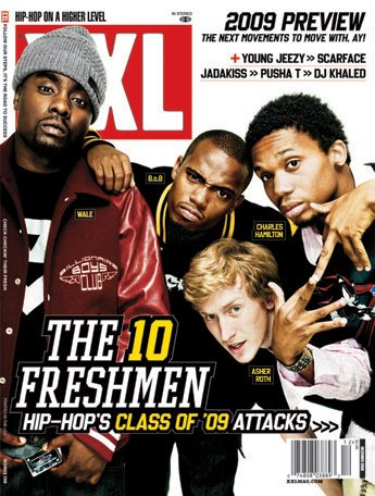 XXL December 2008 cover - Wale, B.o.B, Asher Roth & Charles Hamilton