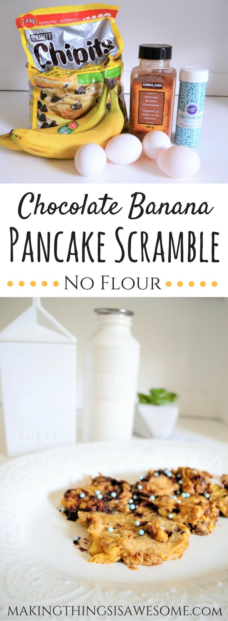 Chocolate Banana Pancake Scramble - pin