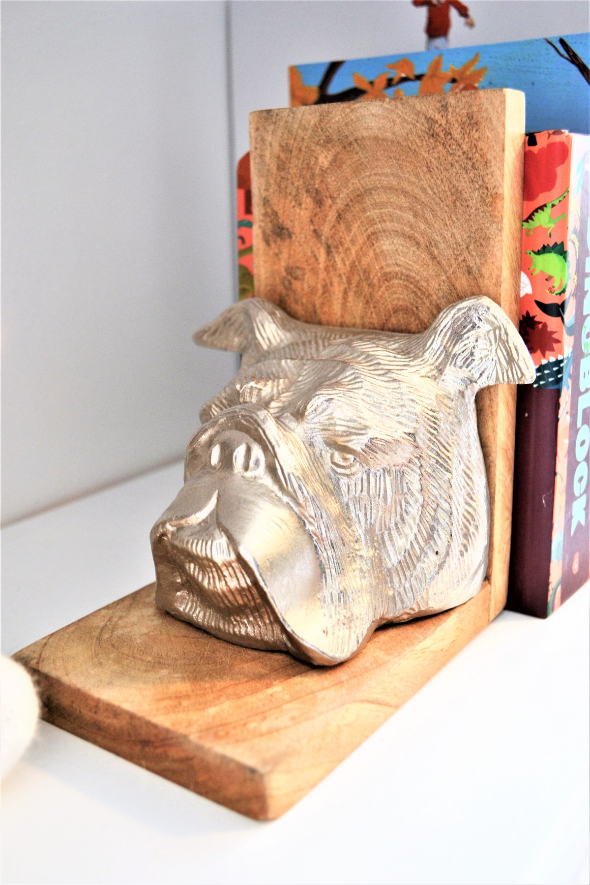 How to decorate your kids room with silver accents - puppy bookends