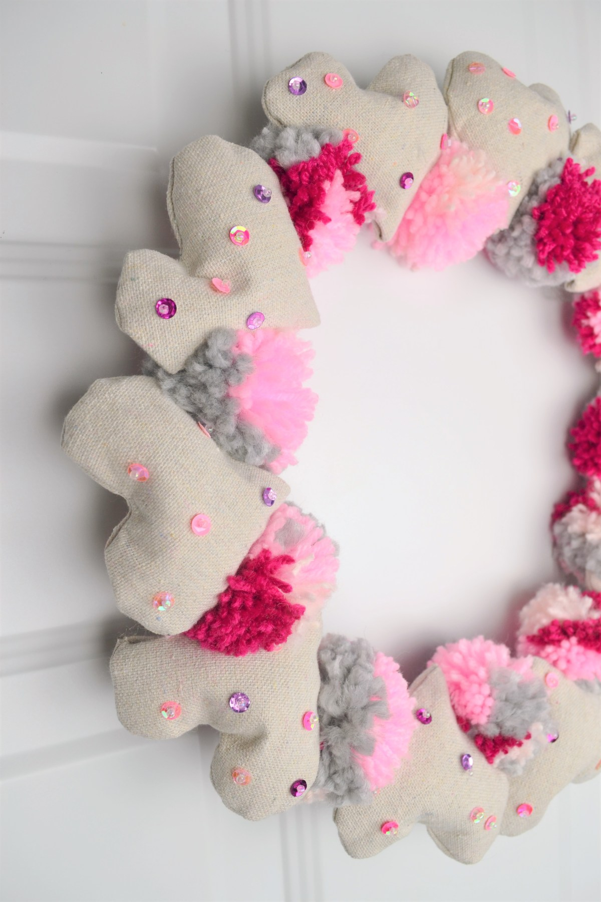 Valentines Day Wreath Heart And Pompom Wreath For Your Front Door
